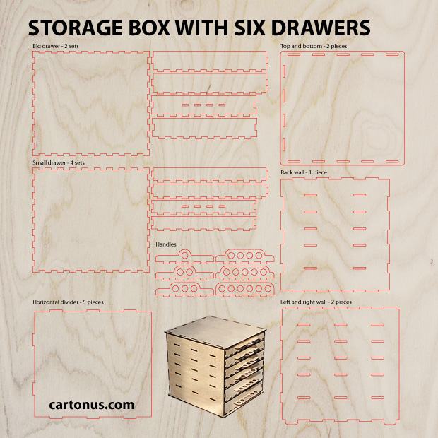 Storage box six drawer project plan