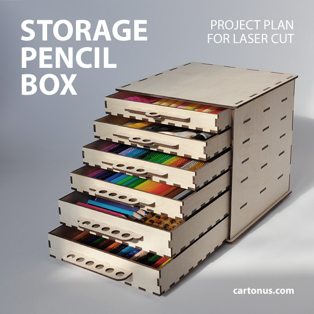 The six drawer wooden pencil box project pan vector model