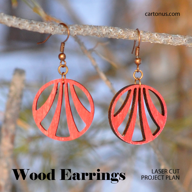 Jewelry, earrings, brooches, culones laser cut free project plan. Art-deco earrings