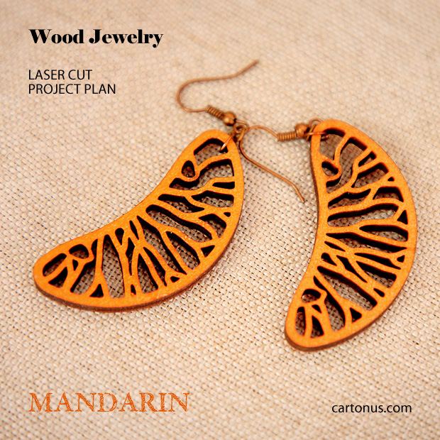 Jewelry, earrings, brooches, culones laser cut free project plan. Mandarin earrings