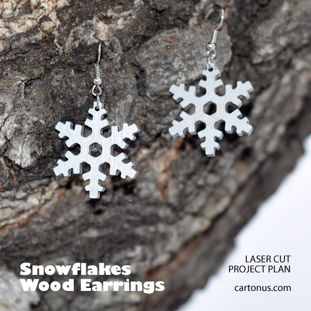 Jewelry, earrings, brooches, culones laser cut free project plan. Snowflakes earrings