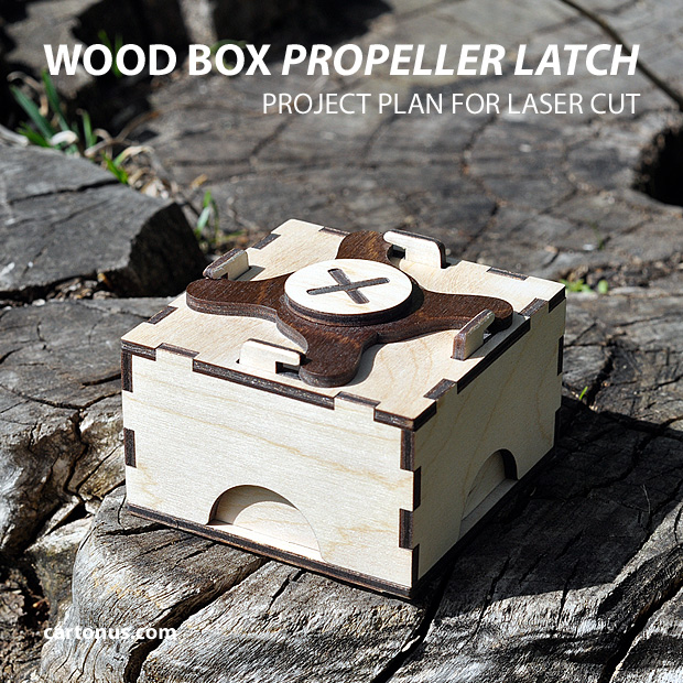 Gift box with propeller latch. Project plan for laser cut.