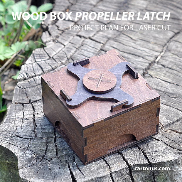 Dark wood box with propeller latch. Project plan for laser cut.