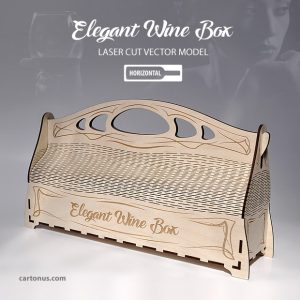 Elegant wooden wine box with handle. Art nouveau style. Lasercut vector model