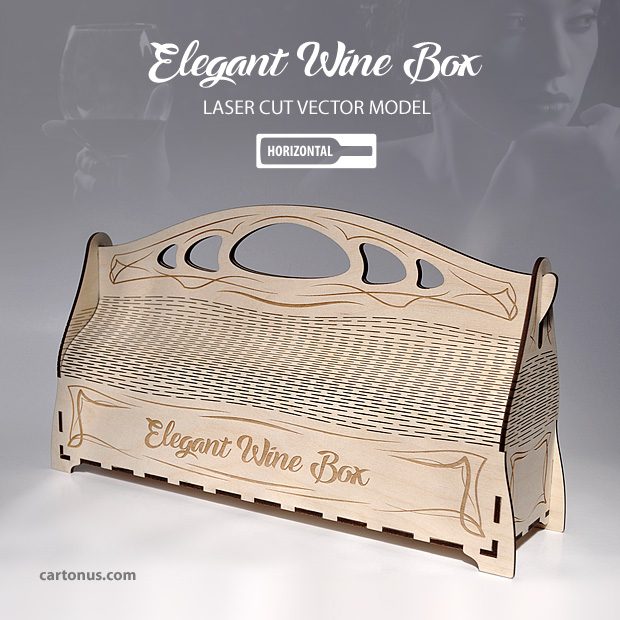 Elegant wine box horizontal cartonus for Laser cut wood box template