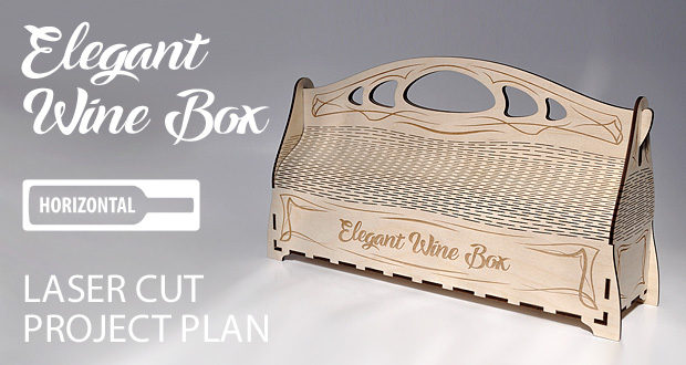 Elegant wooden wine box with handle. Art nouveau style. Lasercut vector model / project plan with engraving.