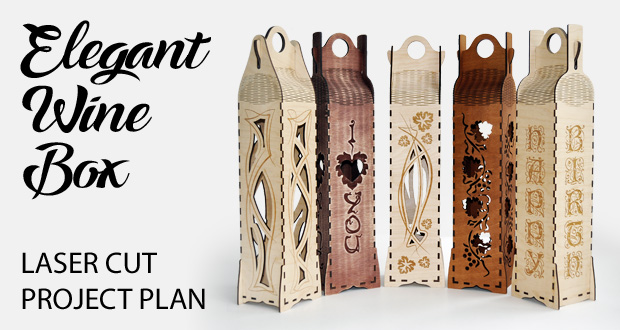 Elegant wine box vertical. Lasercut vector model, project plan. Set of 5 designs