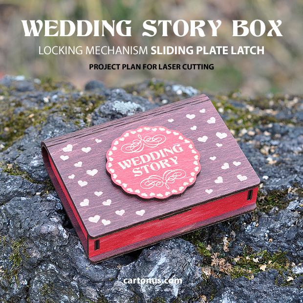 Box with sliding plate latch spring loaded. Wedding story colored box
