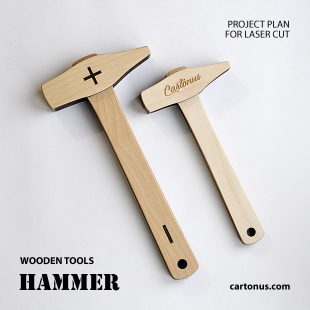 Wooden hammer. Wooden tools. Lasercut vector model. Project plan for laser cutting