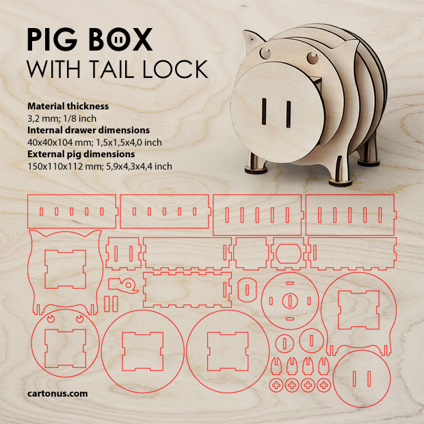 Pig box with tail lock. Lasercut vector model. Project plan. Plywood