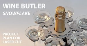 Wine butler Snowflake. Lasercut vector model, project plan. This functional, like snowflake Wine Butler makes carring and serving your favorite wine and six glasses easy. Free download