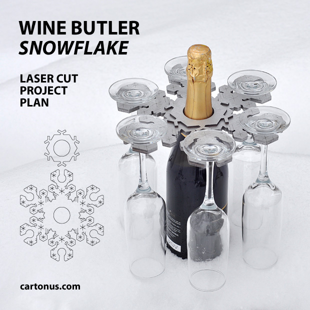 Wine butler Snowflake. In snow. Lasercut vector model, project plan. This functional, like snowflake Wine Butler makes carring and serving your favorite wine and six glasses easy. Free download