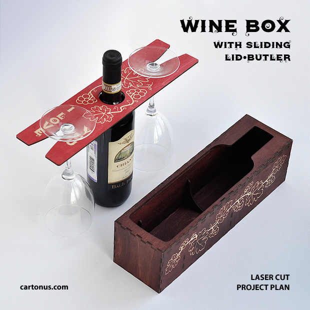 Wine box with sliding lid-butler. Project plan for laser cutting and engraving. Wine butler in action. Wine butler makes carrying and serving your favorite wine and glasses easy