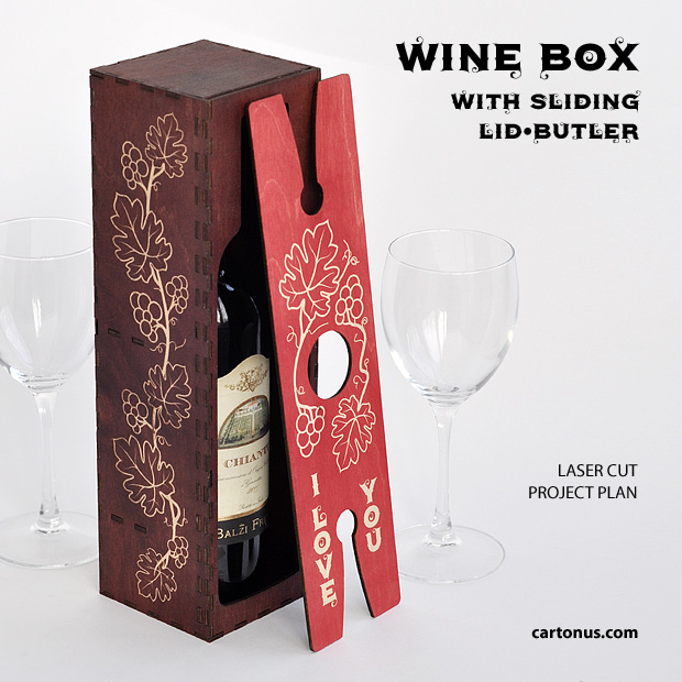 Wine box with sliding lid-butler. Project plan for laser cutting and engraving. Vertical vine box with wine and wine-butler. Glasses too