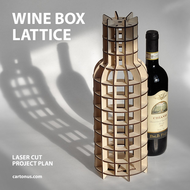 Wine box lattice. The wine box has a locking swivel lid at the bottom. The lid contains a spring-loaded element that does not allow it to accidentally open.
