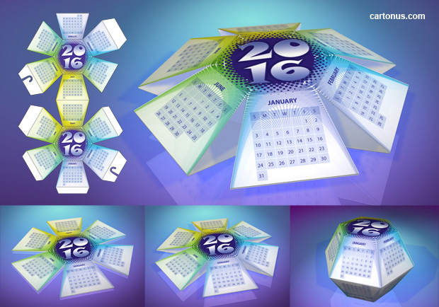 2016 Desktop Pop-up Calendar Hexahedral template. 3D rendered photo