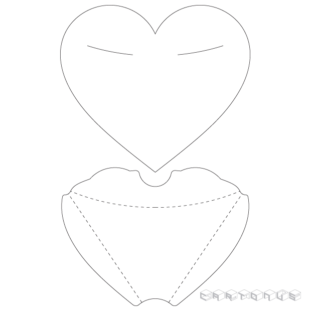 Gift carton Heart with eyes vector template