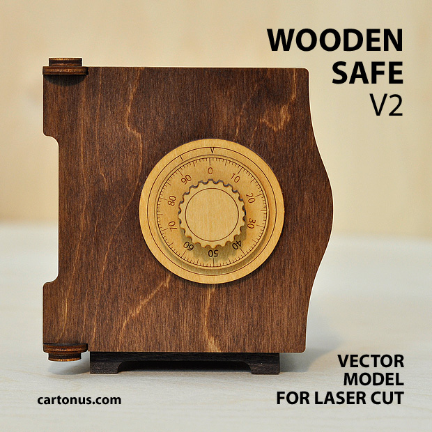 wooden safe v2 vector model project plan ready for laser cutting. Safe 3