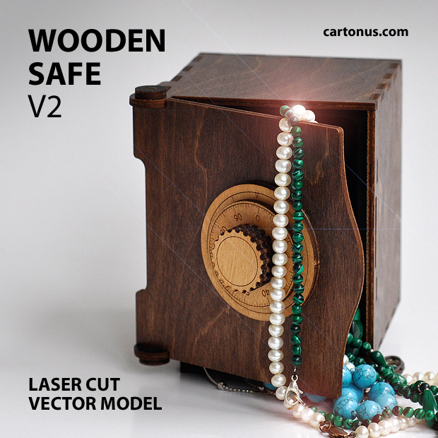 wooden safe v2 vector model project plan ready for laser cutting. Safe 4