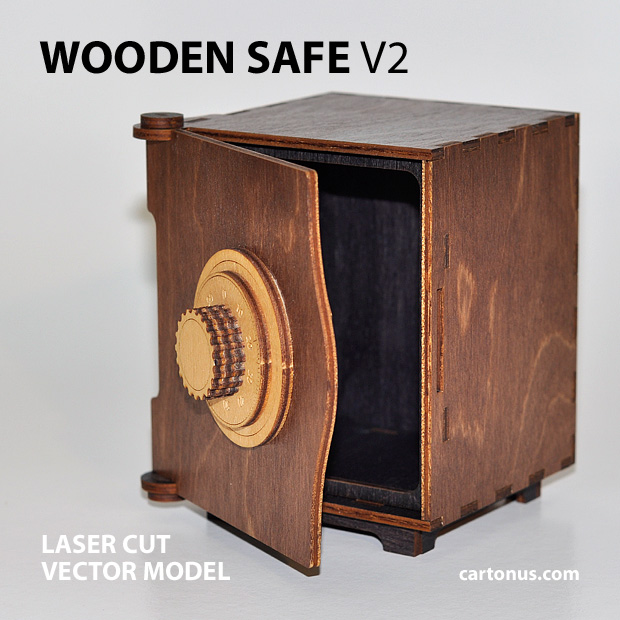 wooden safe v2 vector model project plan ready for laser cutting. Safe 5