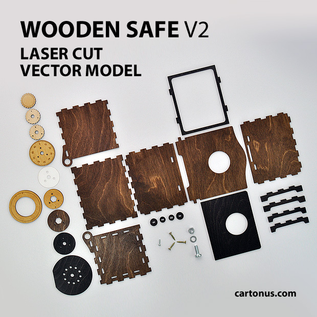 wooden safe v2 vector model project plan ready for laser cutting. Details of safe