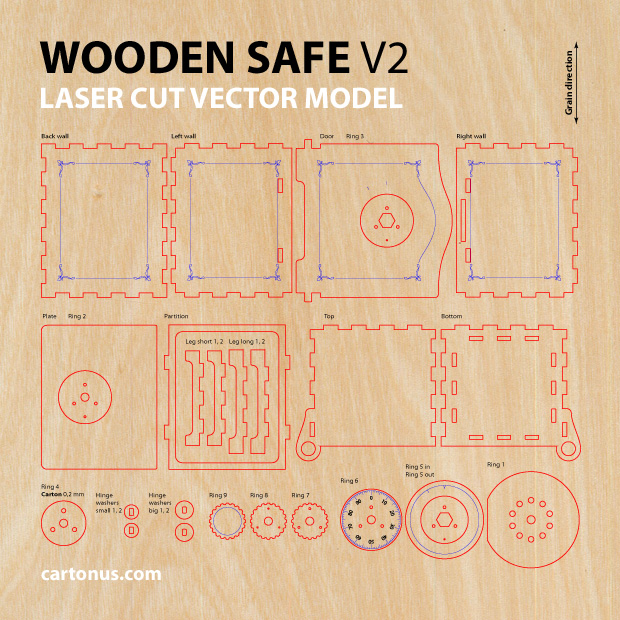 wooden safe v2 vector model project plan ready for laser cutting. Vector model