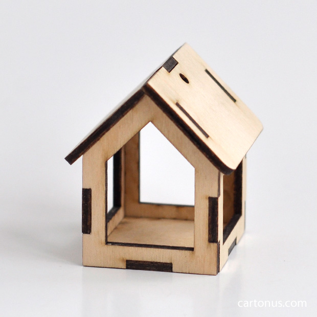 Small wooden bird feeders. Model for laser cutting from plywood. For decupage, toys, decoration use.