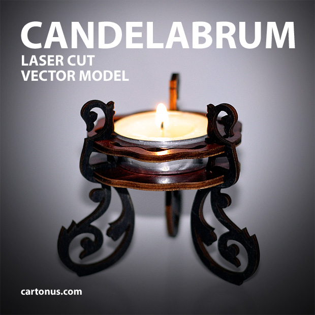 candelabrum vector model for laser cutting for candle 40mm