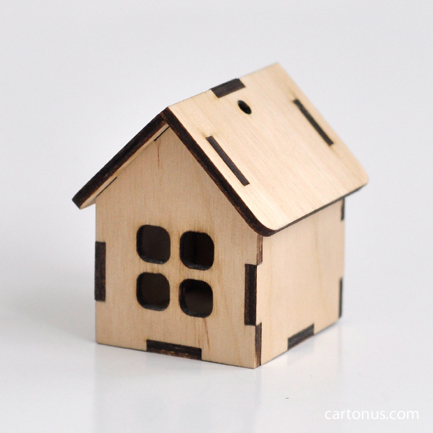 Small wooden house. Model for laser cutting from plywood. For decupage, toys, decoration use.