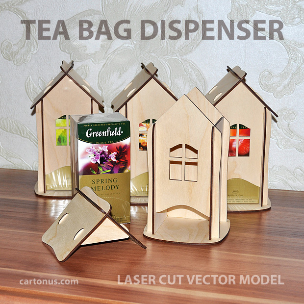 Tea house. Tea bag dispenser. 4 tea homes. Laser cut vector model. Project plan for laser cutters. Vector pattern of tea bag dispenser.