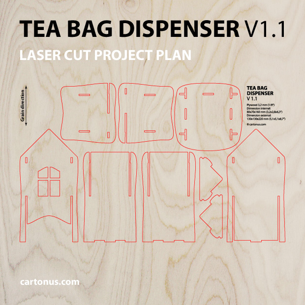 Tea bag dispenser. Project plan for laser cutting