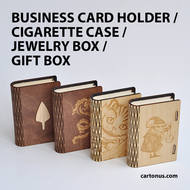 Business card holder, cigarette case, jewelry box, gift box, wooden box with locking mechanism - sliding bolt latch. Lasercut vector model. Ready for laser cut. Colored wood. Arrow, cat, dragon, gnome.