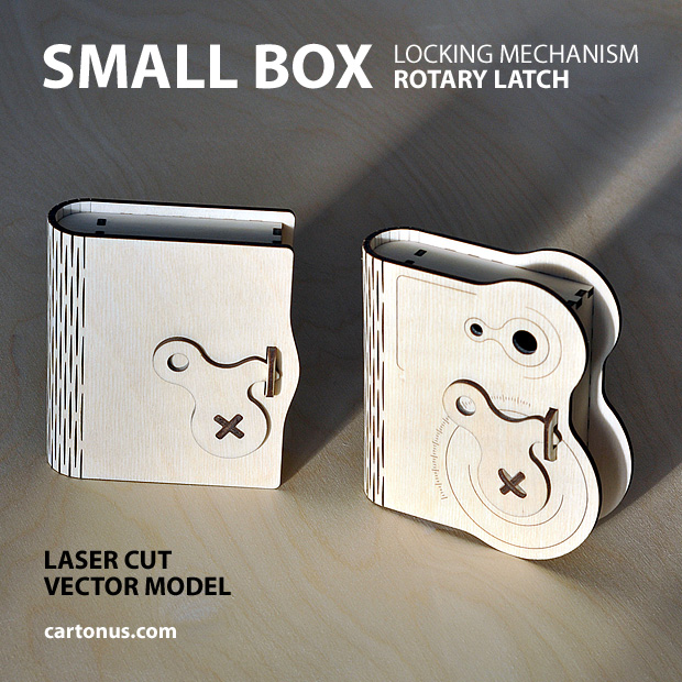 Wooden box with rotary latch. Set of 2 patterns