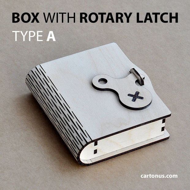 Wooden box with rotary latch. Type A. Laser cut vector model