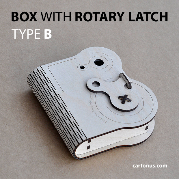 Wooden box with rotary latch. Type B. Laser cut vector model