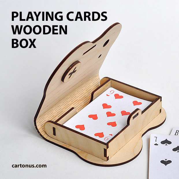 playing cards wooden box with rotary latch
