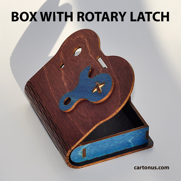 Business card holder, playing cards box, cigarette case, jewelry box, gift box, wooden box with locking mechanism - rotary latch. Lasercut vector model. Ready for laser cutting. Color variant 3
