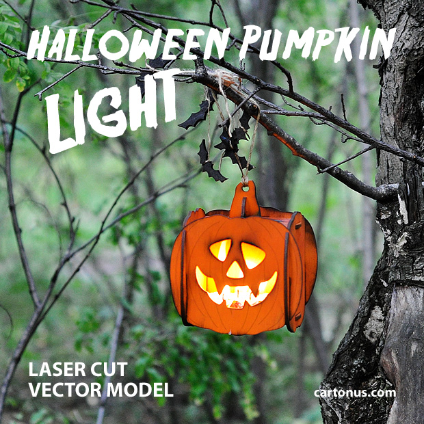 Halloween pumpkin light laser cut vector model. Forest. Old tree
