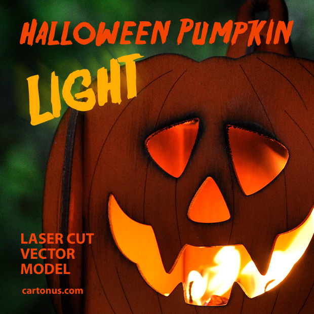 Halloween pumpkin light laser cut vector model. Big face