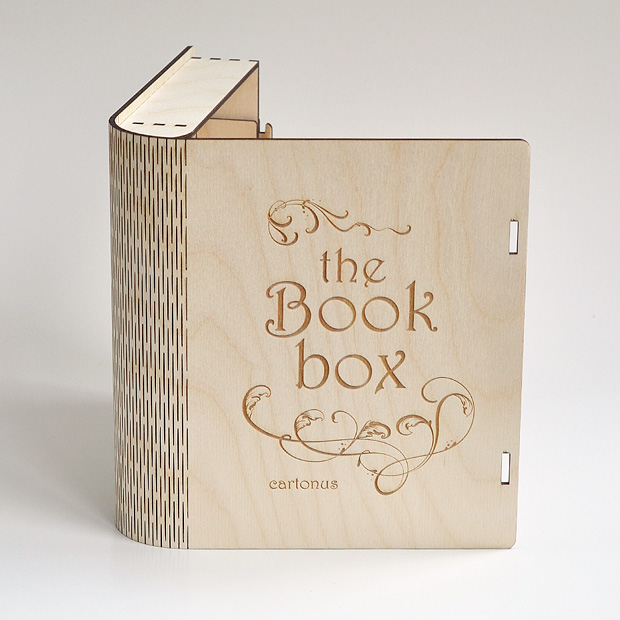 Wooden book box with sliding bolt latch. Laser cut vector model. Project plan for laser cutting. Open book box
