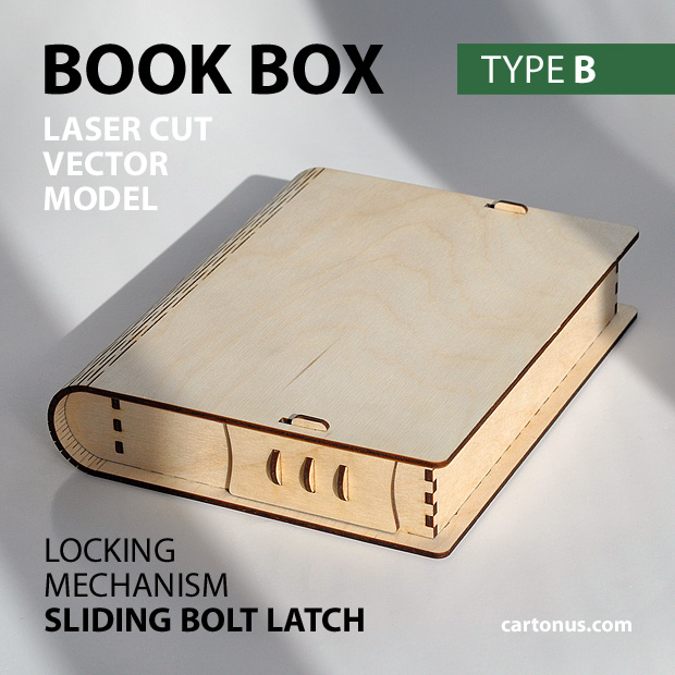 Wooden book box with sliding bolt latch. Laser cut vector model. Project plan for laser cutting. Photo with description. Type B