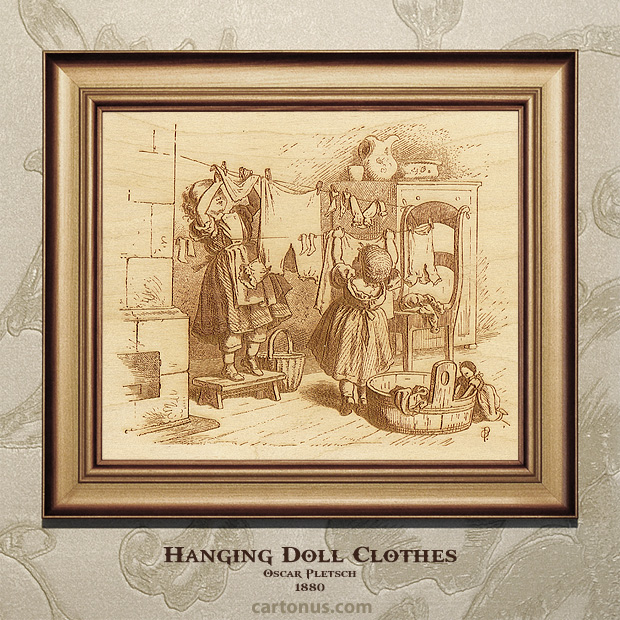 Vintage Engraving Hanging Doll Clothes by Oscar Pletsch - BMP file ready for laser engraving