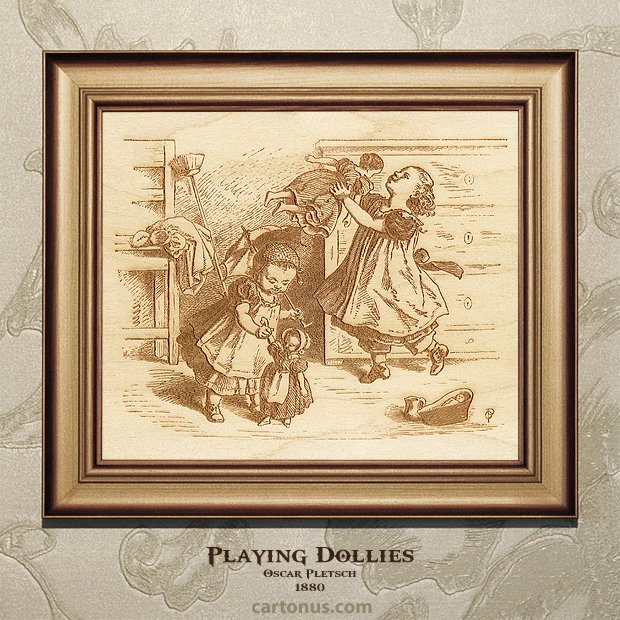 Vintage Engraving Playing Dollies by Oscar Pletsch - BMP file ready for laser engraving