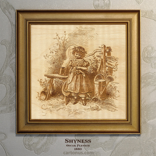 Vintage Engraving Shyness by Oscar Pletsch - BMP file ready for laser engraving