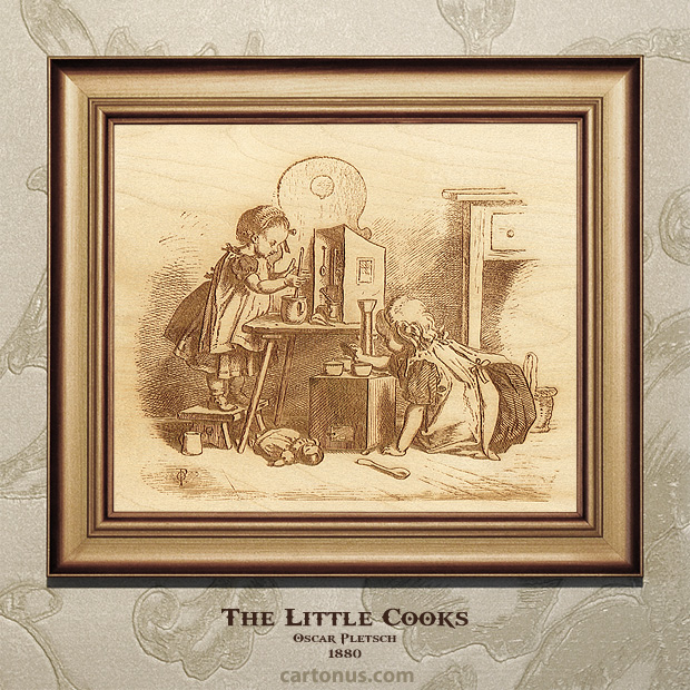 Vintage Engraving The Little Cooks by Oscar Pletsch - BMP file ready for laser engraving