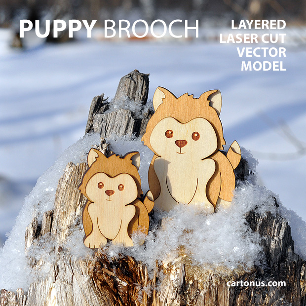 Puppy-dog brooch. Three-layers vector model for laser cutting. Two dogs in snow