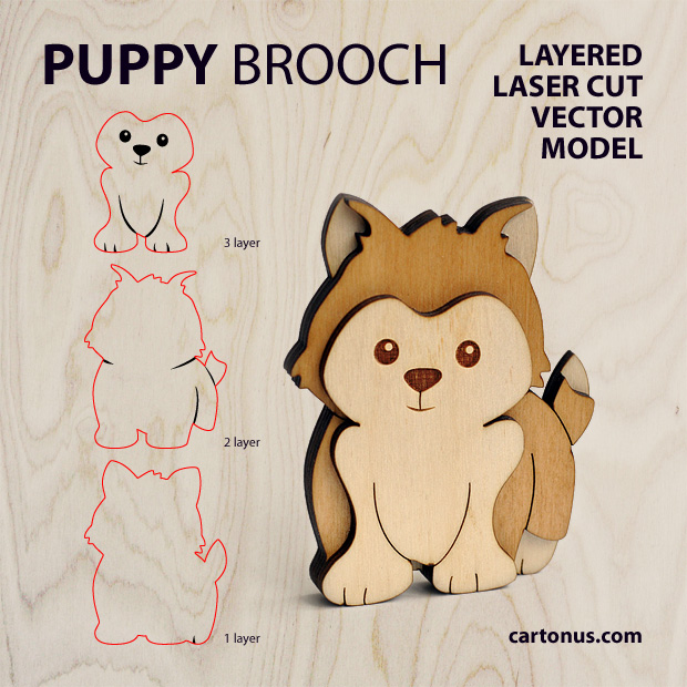 Puppy-dog brooch. Three-layers vector model for laser cutting. Vector preview