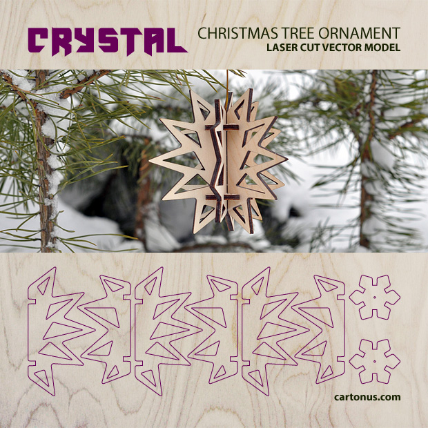Download FREE Christmas tree ornament - Crystal. Free vector model of christmas tree ornament. Project plan of christmas decoration