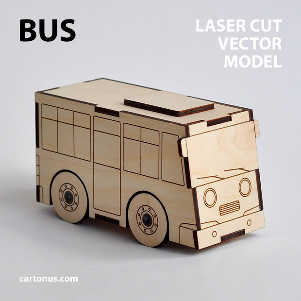 Bus and garage wooden toy. Vector models for laser cut