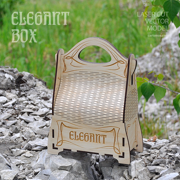 Elegant gift box with handle. Art nouveau style. Lasercut vector model project plan with engraving. 2 patterns. Small and big size. In nature